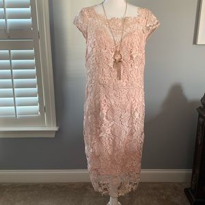 Romantic pink lace dress